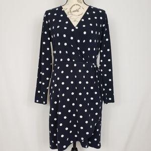 LOFT Navy Polka Dot Long Sleeve Faux Wrap Dress 12